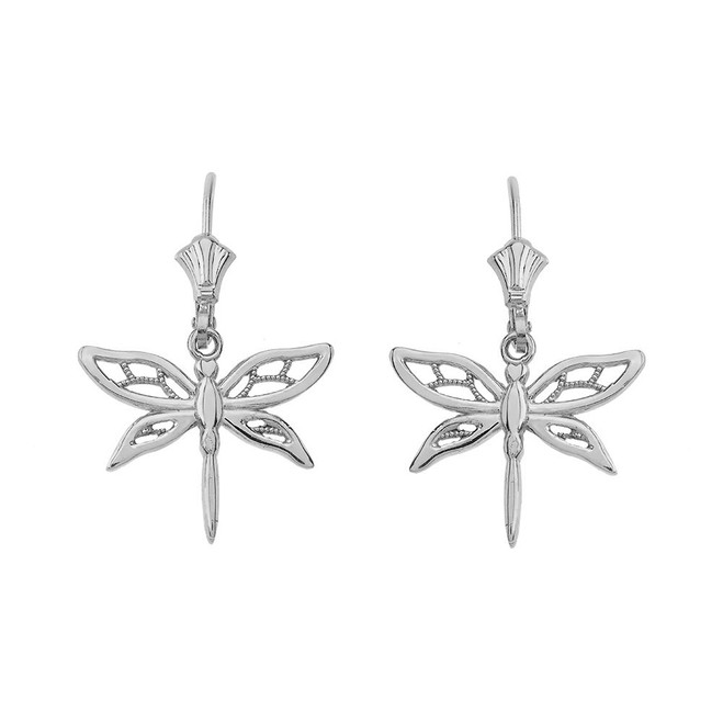 Adorable Dragonfly Leverback Earrings 14K in White Gold
