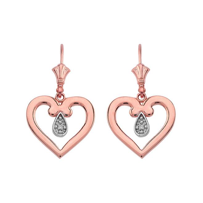 Open Heart Two-Tone Diamond Leverback Earrings 14K in Rose Gold