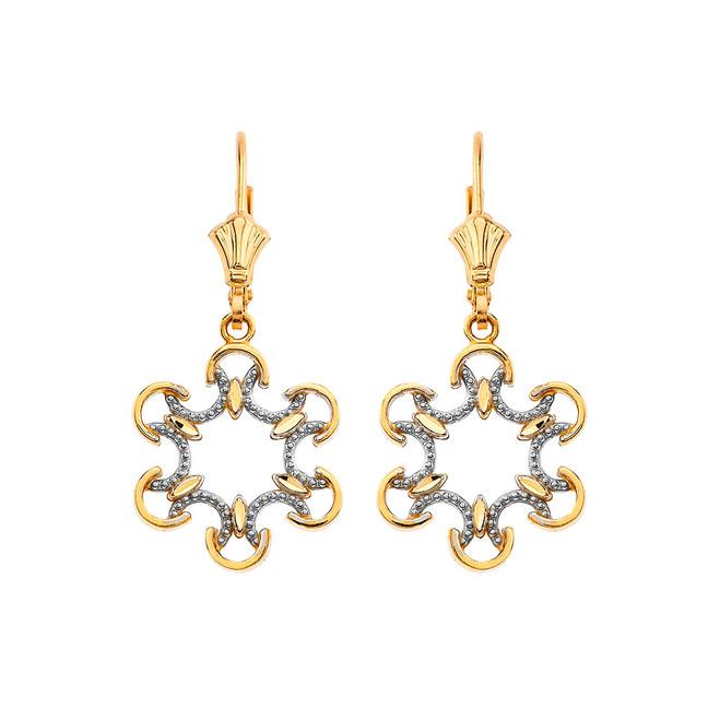 Openwork Filigree Two-Tone Leverback Earrings in Yellow Gold