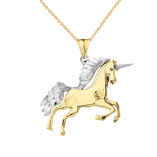 Unicorn Pendant Necklace in Two-Tone Yellow Gold