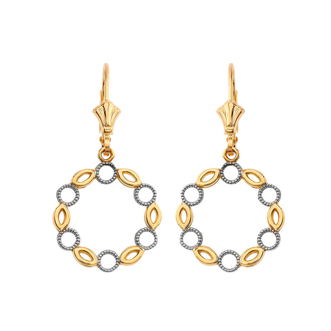 Filigree Round Two-Tone  Leverback Earrings in Yellow Gold
