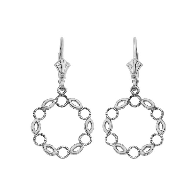 Filigree Round Leverback Earrings in 14k White Gold
