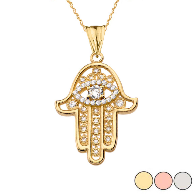 Chic Hamsa Evil Eye Pendant Necklace in Gold (Yellow/Rose/White Gold)