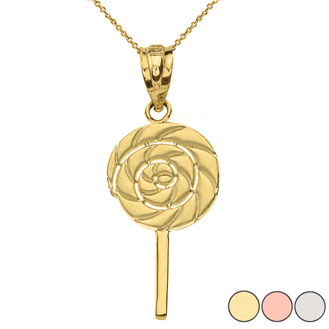 Solid Gold Retro Candy Swirl Lollipop Pendant Necklace (Yellow/Rose/White Gold)