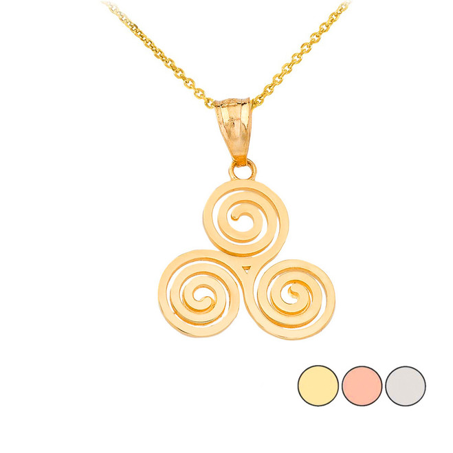 Celtic Knot Triskele Swirl Pendant Necklace in Gold (Yellow/ Rose/White)