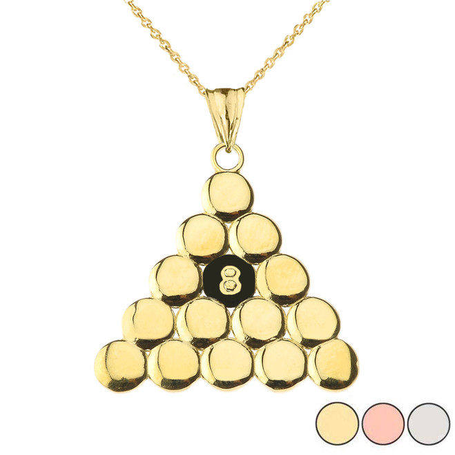 8 Ball Pool Pendant Necklace in Gold (Yellow/Rose/White Gold)