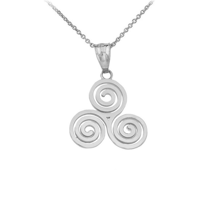 Celtic Knot Triskele Swirl Pendant Necklace in Sterling Silver