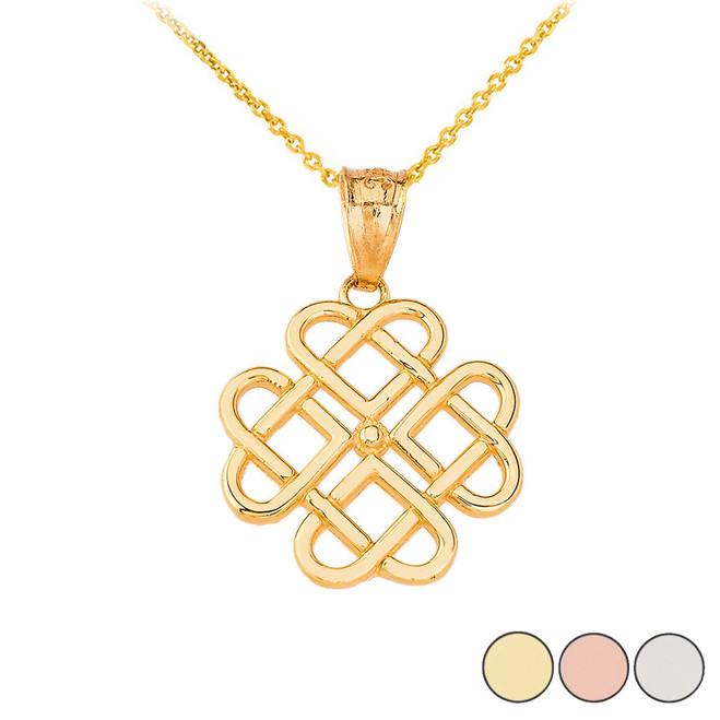 Woven Celtic Hearts Pendant Necklace in Gold (Yellow/ Rose/White)