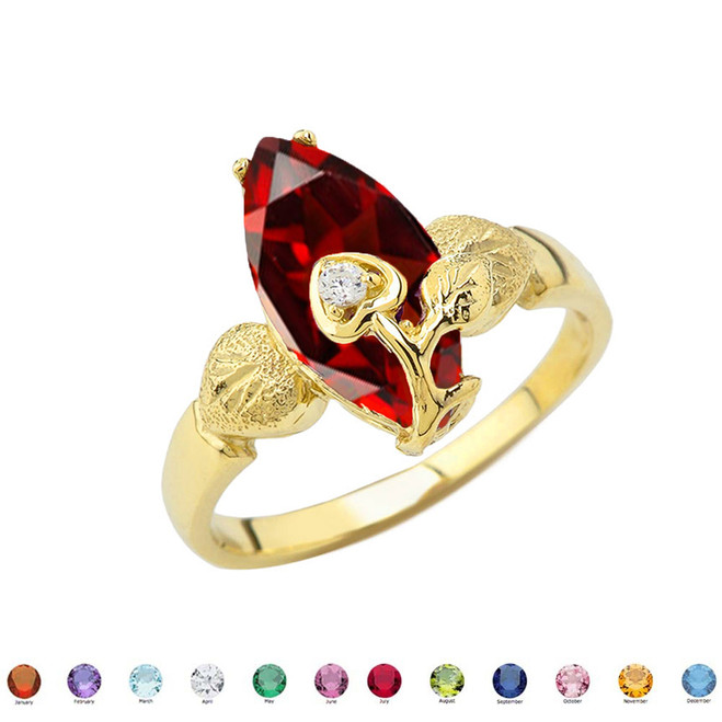 Personalized (LC) Birthstone Marquise Flower Heart Ring In 10K Yellow Gold