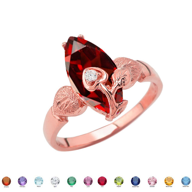 Personalized (LC) Birthstone Marquise Flower Heart Ring In 14K Rose Gold