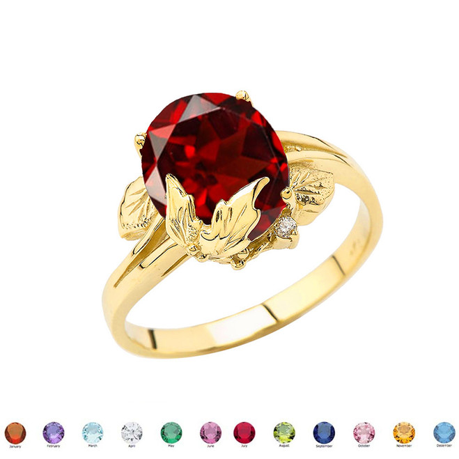 Personalized (LC) Birthstone Oval Floral Ladies Ring In 14K Yellow Gold