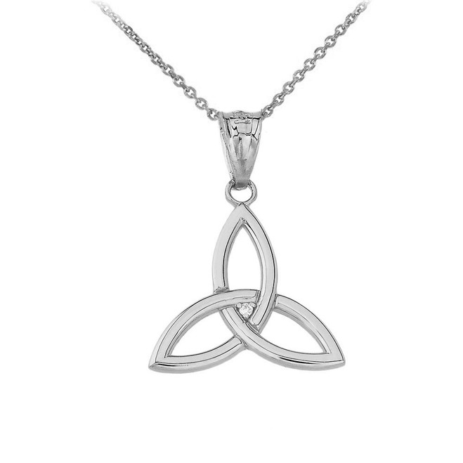 Celtic Knot Triquetra Trinity CZ Pendant Necklace in Sterling Silver