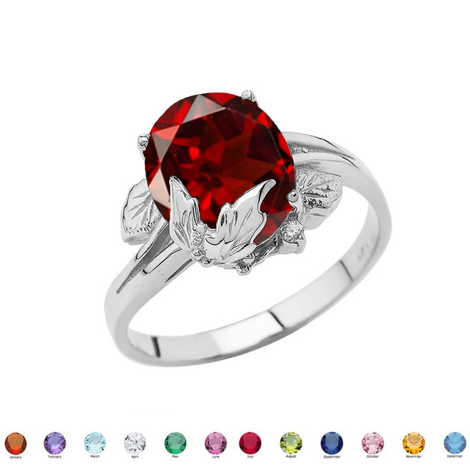 Personalized (LC) Birthstone Oval Floral Ladies Ring In 14K White Gold