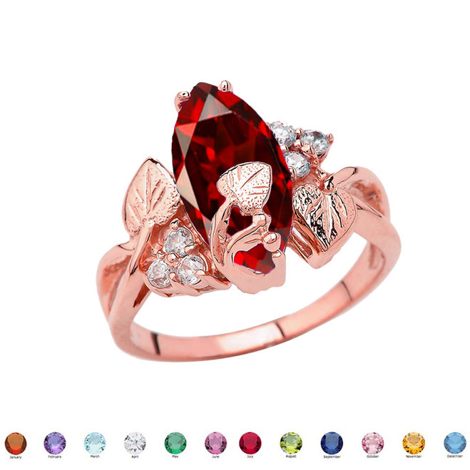Beautiful Floral Personalized (LC) Birthstone Marquise Ring In 10K Rose Gold