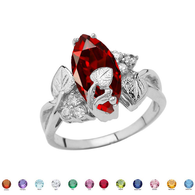 Beautiful Floral Personalized (LC) Birthstone Marquise Ring In 14K White Gold