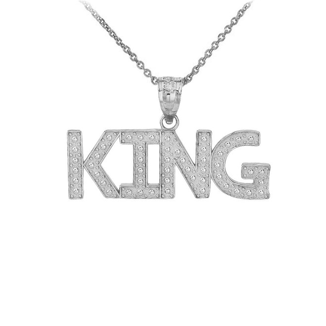 King  Hip Hop Textured Pendant Necklace in  Sterling Silver