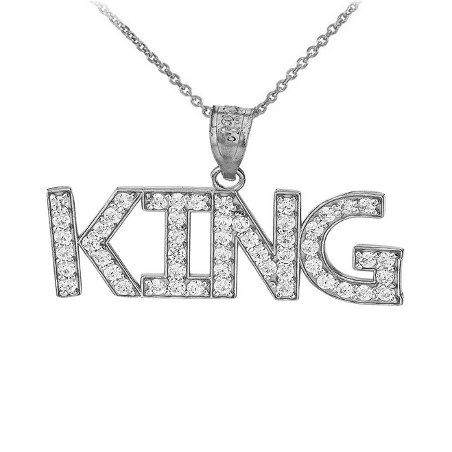 King Hip Hop CZ Pendant Necklace in Sterling Silver