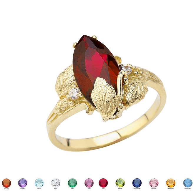 Dainty Personalized (LC) Birthstone Marquise Leaf Ring In 10K Yellow Gold