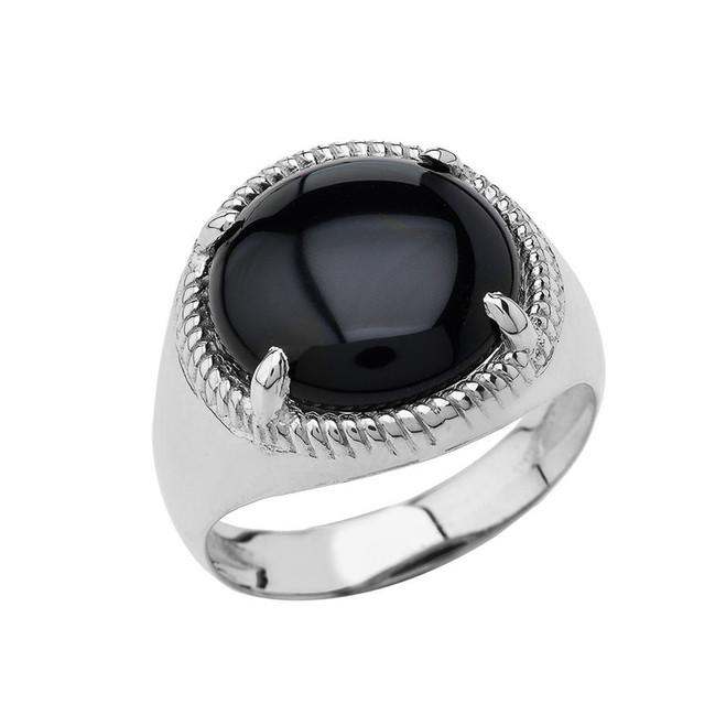 Men's  Black Onyx Milgrain Ring In Sterling Silver