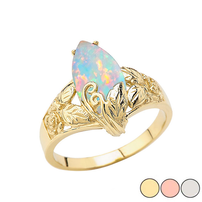 Filigree Floral Simulated Opal Marquise Ring In Gold (Yellow/Rose/White)
