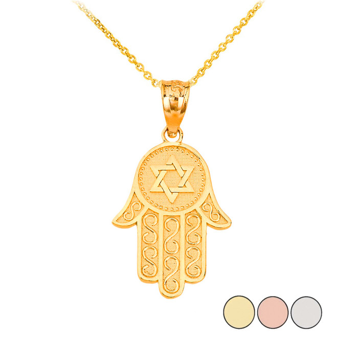 Textured Hamsa Pendant Necklace in Gold (Yellow/ Rose/White)