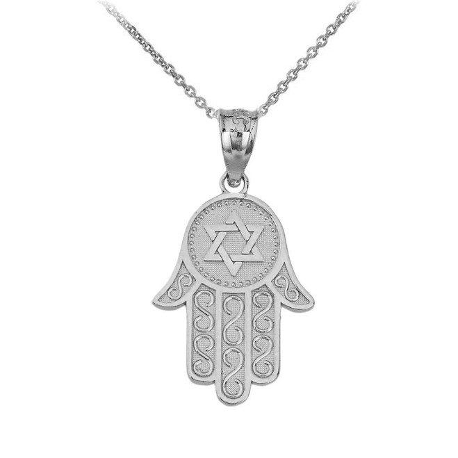Textured Hamsa Pendant Necklace in Sterling Silver