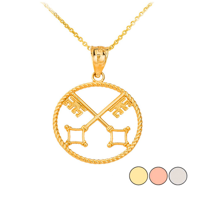 Saint Peter's Keys of Heaven Pendant Necklace in Gold (Yellow/ Rose/White)