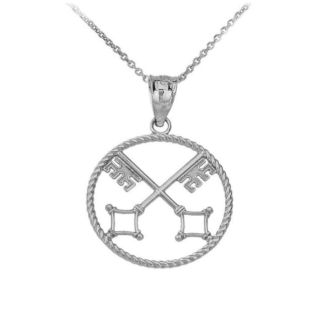 Saint Peter's Keys of Heaven Pendant Necklace in Sterling Silver