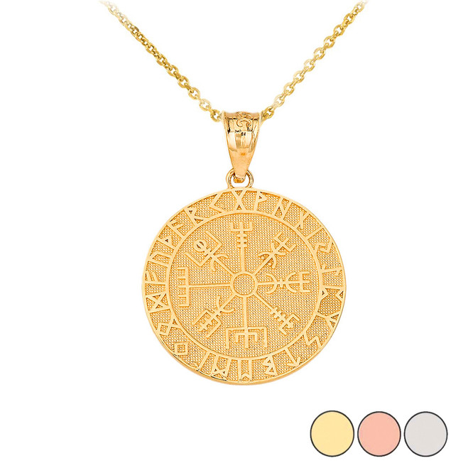 Vegvisir Viking Compass Pendant Necklace in Gold (Yellow/ Rose/White)