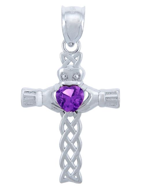 Silver Celtic Cross Pendant with Amethyst CZ Heart