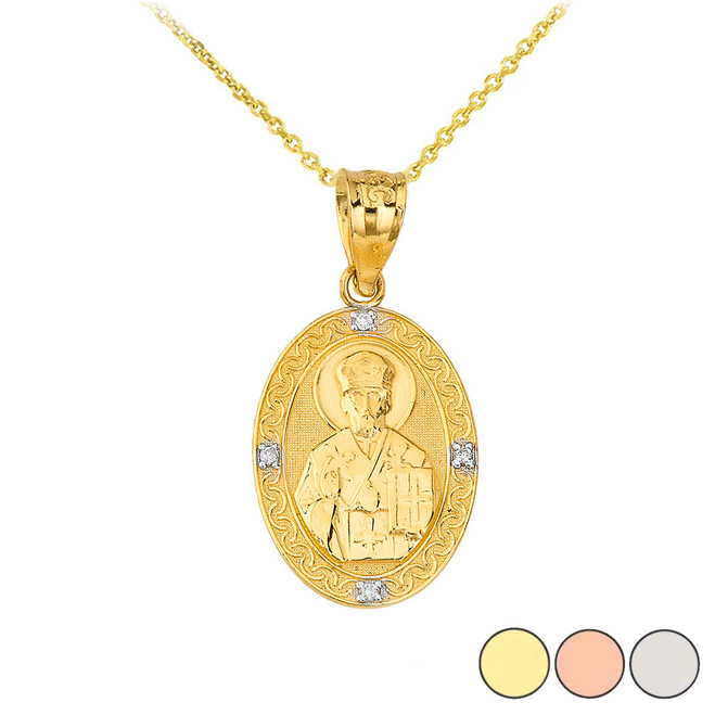 Saint Nicholas Pray for Us  Oval Diamond Pendant Necklace in Gold (Yellow/ Rose/White)