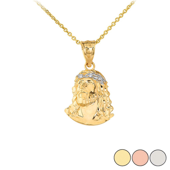 Jesus Christ Head Diamond Pendant Necklace (Small) in Gold (Yellow/ Rose/White)