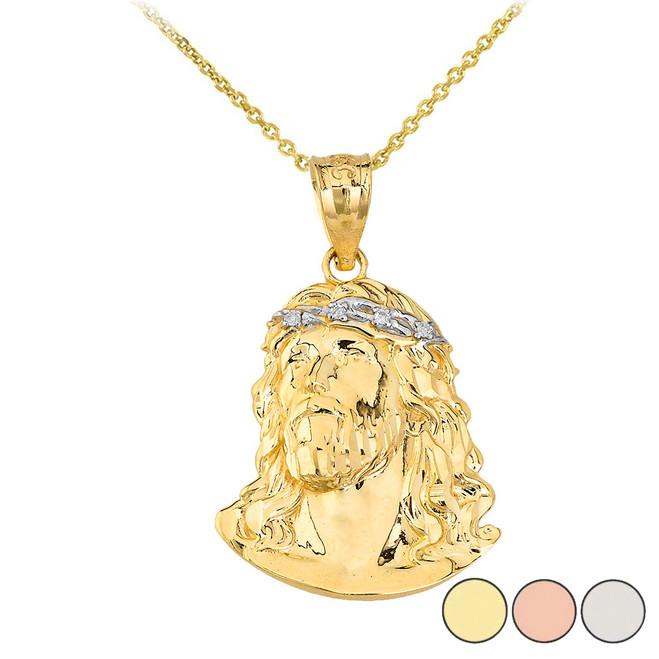 Jesus Christ Head Diamond Pendant Necklace (Medium) in Gold (Yellow/ Rose/White)