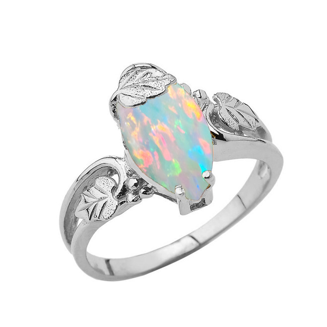 Marquise Leaf Ring With Opal Gemstone In Sterling Silver