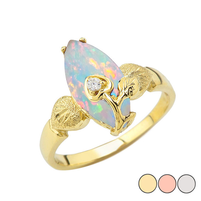 Simulated Opal Gemstone  Marquise Flower Heart Ring In Gold (Yellow/Rose/White)