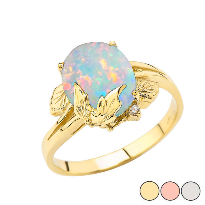 Simulated Opal Gemstone Oval Floral Ladies Ring In Gold Yellow/Rose/White