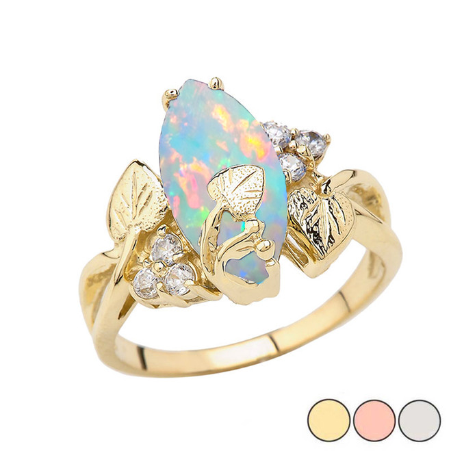 Beautiful Floral Simulated Opal Gemstone Ring In Gold (Yellow/Rose/White)