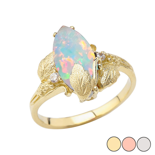 Simulated Opal Gemstone Leaf Ring In Gold (Yellow/Rose/White)