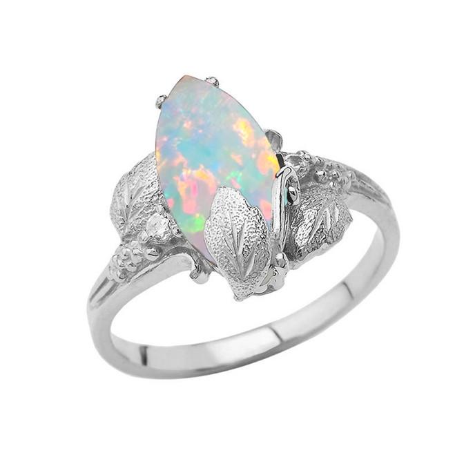Simulated Opal Gemstone Leaf Ring In Sterling Silver