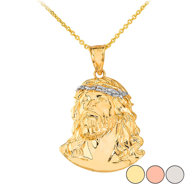 Jesus Christ Head Diamond Pendant Necklace (Large) in Gold (Yellow/ Rose/White)