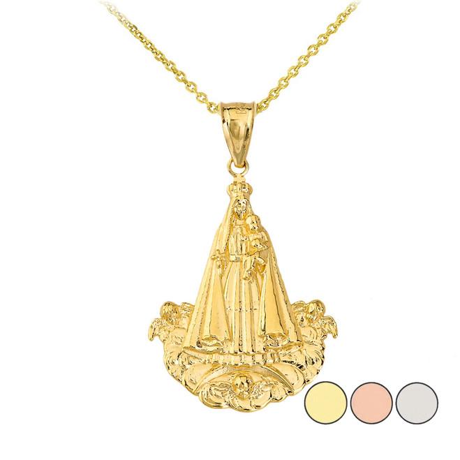 Virgen del Cobre (Medium) Pendant Necklace in Gold (Yellow/ Rose/White)