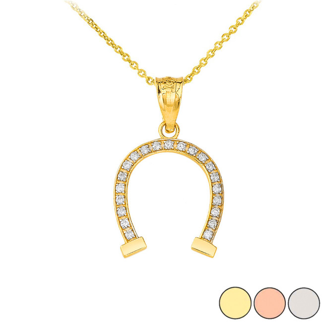 Lucky Diamond Horseshoe Pendant Necklace in Gold (Yellow/ Rose/White)
