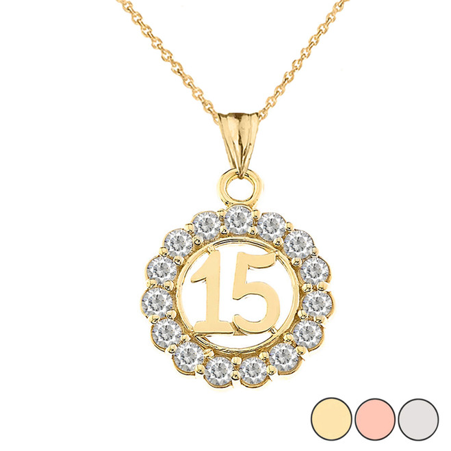 15 Quinceañera With CZ Pendant Necklace In Gold (Yellow/Rose/White)