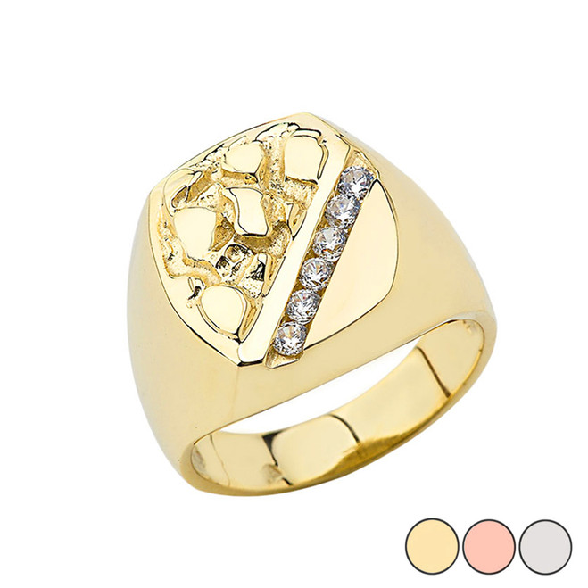 Gold Men's Diamond Nugget Ring in (Yellow/Rose/White)