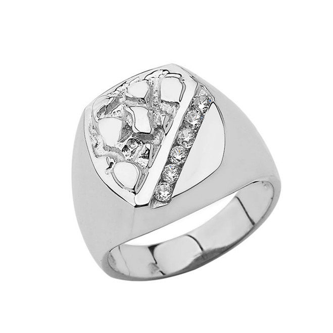 Sterling Silver Men's Diamond Nugget Ring