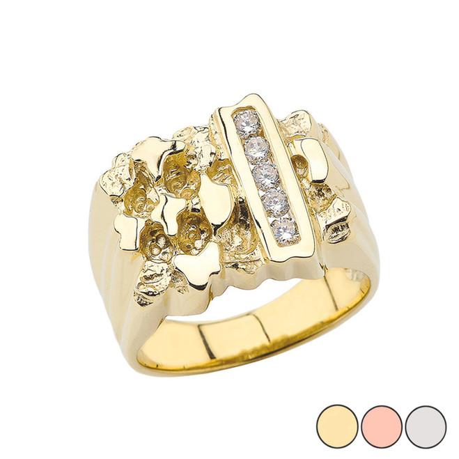Men's Gold Diamond Nugget Ring in (Yellow/Rose/White)