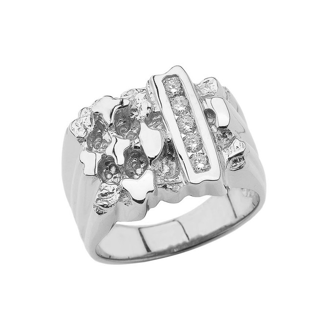 Men's Diamond Nugget Ring In Sterling Silver