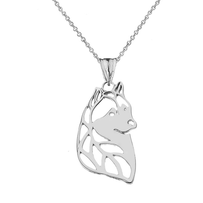 Alaskan Husky Cutout Silhouette Pendant Necklace In Sterling Silver