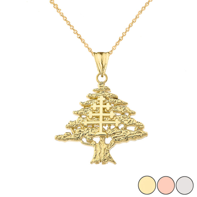 Lebanese Cedar Tree With Maronite Cross Pendant Necklace In Gold (Yellow/Rose/White)
