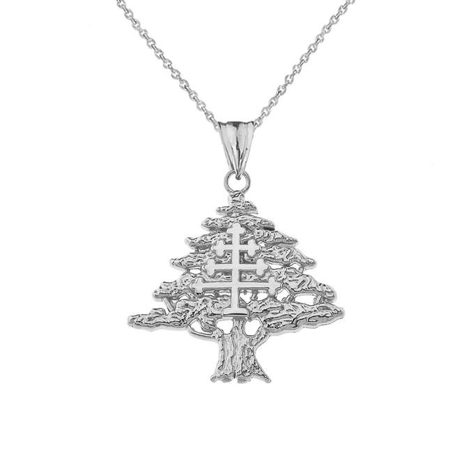 Lebanese Cedar Tree With Maronite Cross Pendant Necklace In Sterling Silver